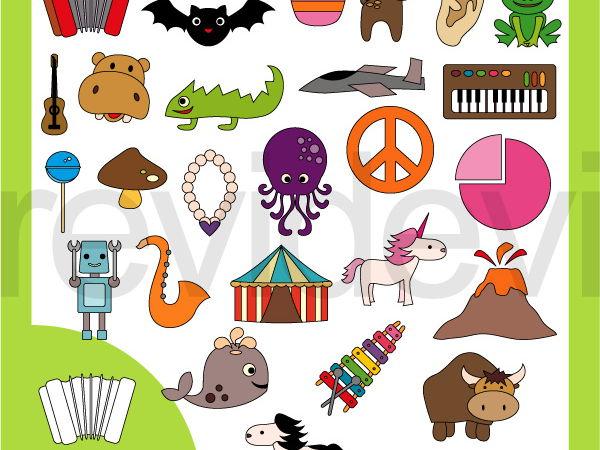 Beginning alphabet version graphics. English clipart resource