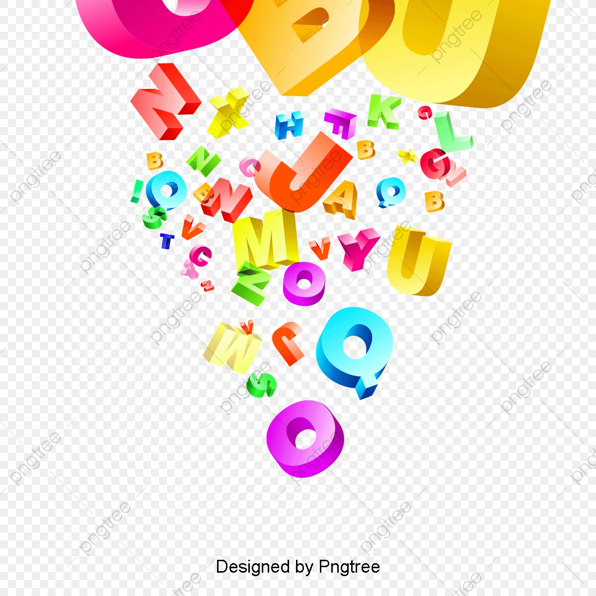 English clipart resource. Colorful abstract alphabet bright