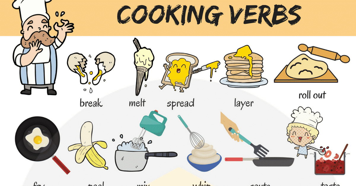Cooking verbs list of. English clipart useful
