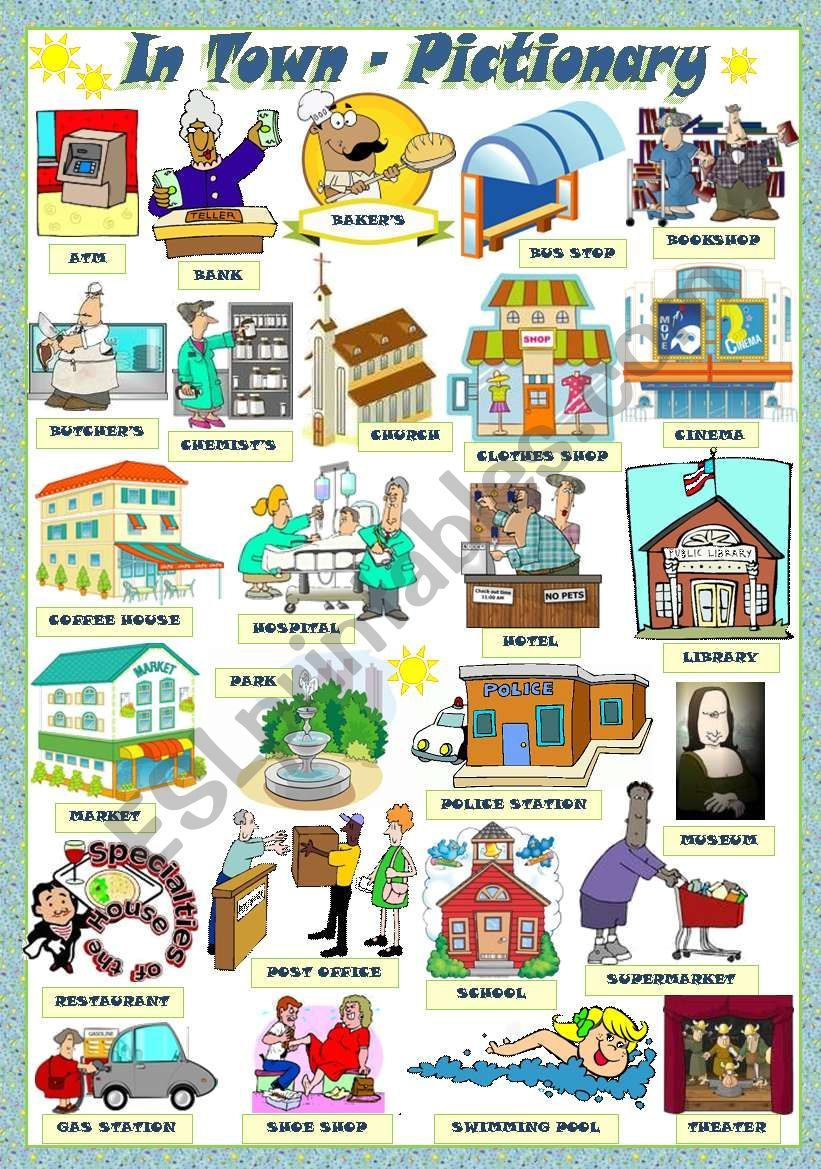 English clipart useful. A pictionary about public