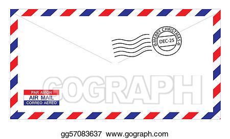Envelope clipart airmail envelope. Clip art vector christmas