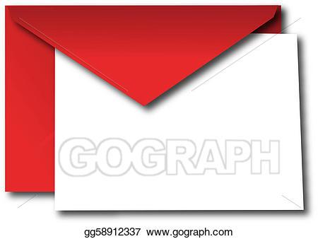 Stock illustration red with. Envelope clipart blank envelope