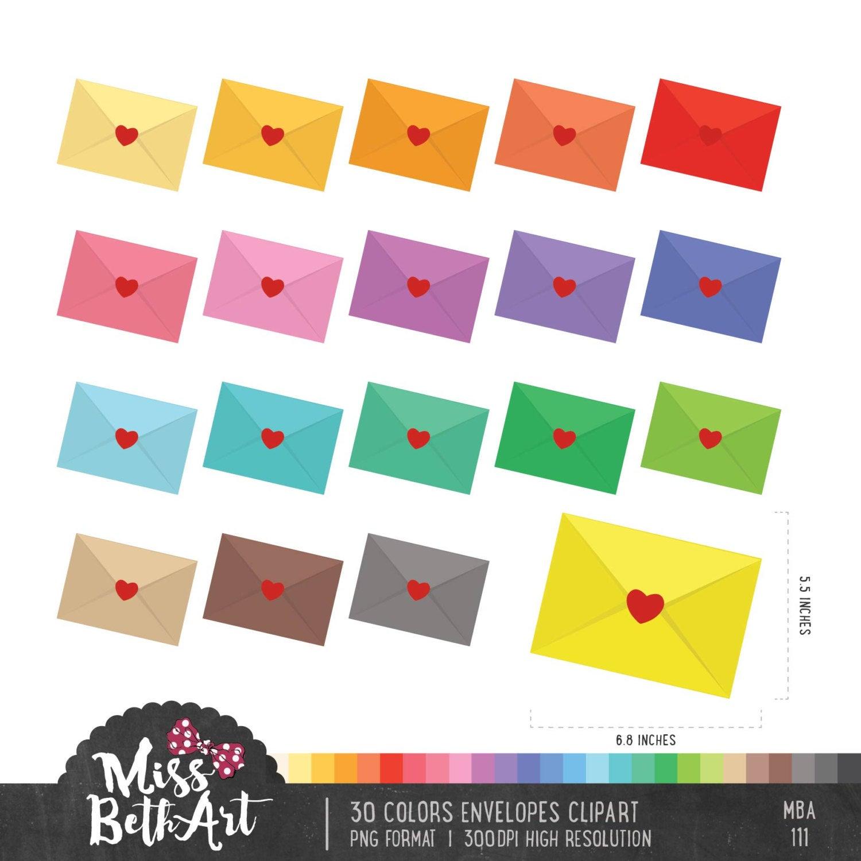 Envelope clipart colored envelope.  colors envelopes instant
