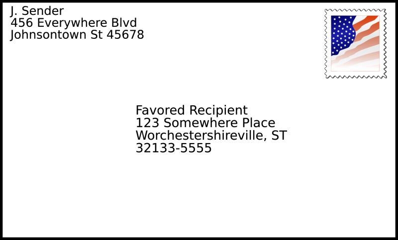 Envelope clipart format. Addressed with stamp medium