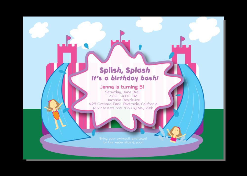 Envelope clipart invitation envelope. The princess waterslide girl