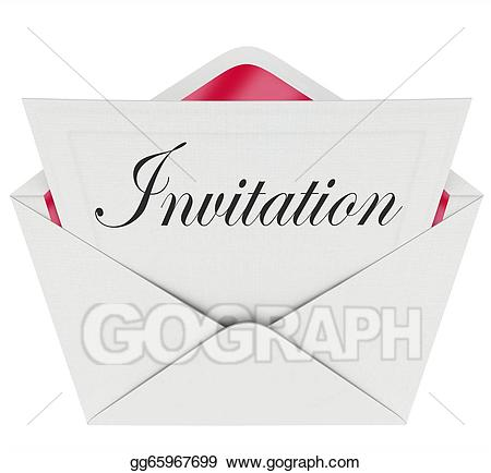 Drawing word card invited. Envelope clipart invitation envelope
