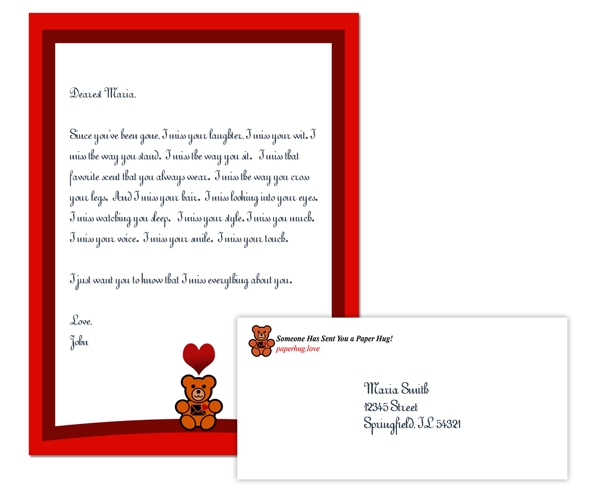 Paper hug letters romantic. Mail clipart love letter
