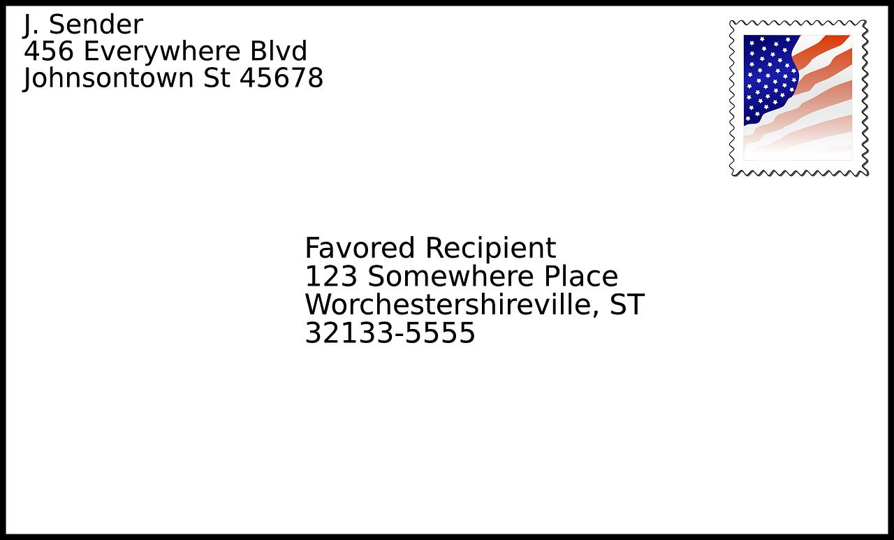 Blog text a letter. Envelope clipart sample addressed