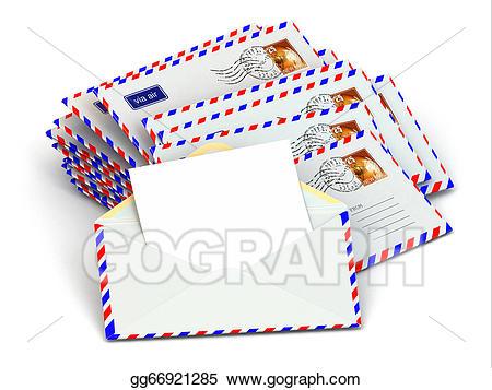 Stock illustrations mail of. Envelope clipart stack envelope