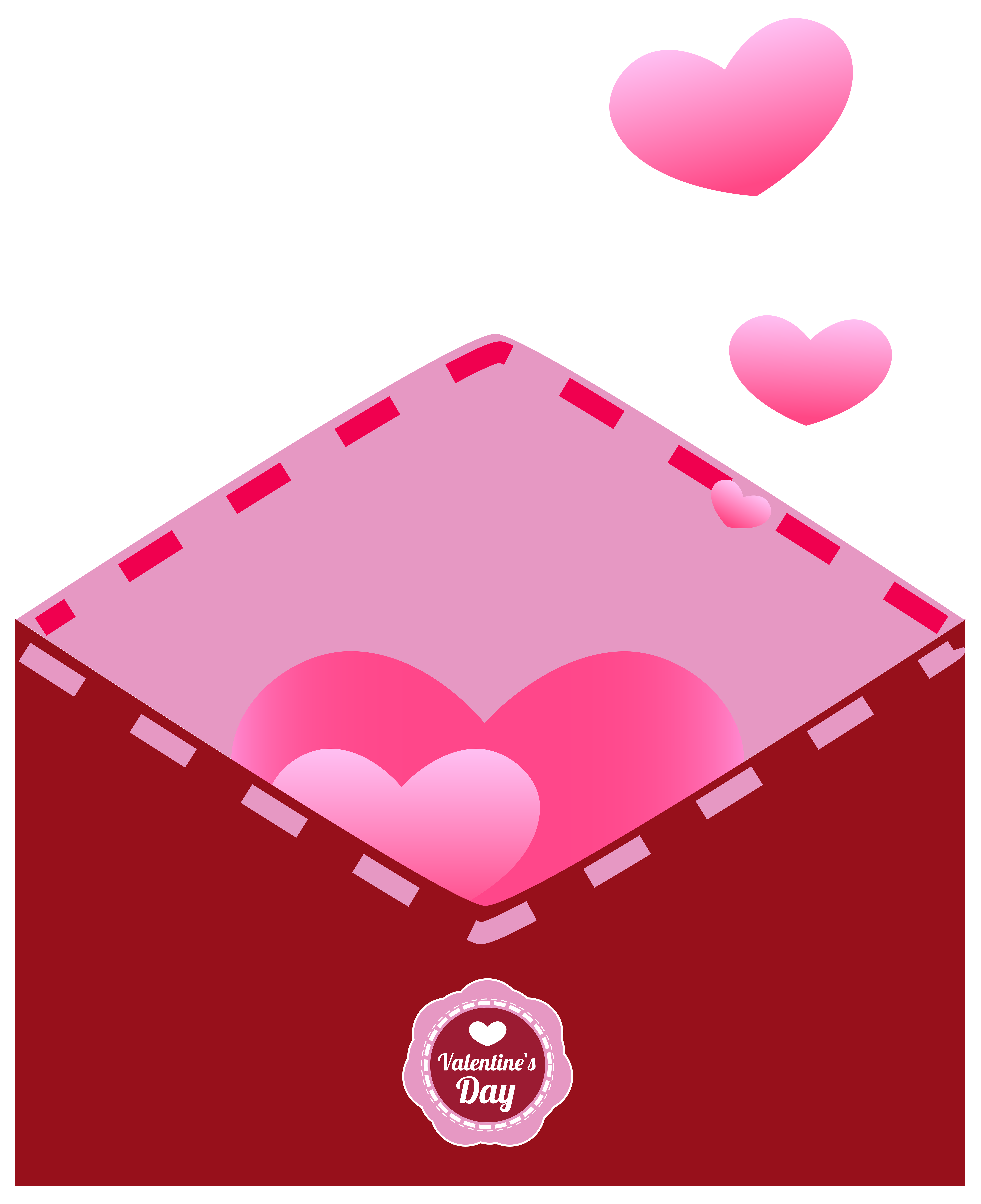 Envelope with hearts transparent. Lip clipart valentines