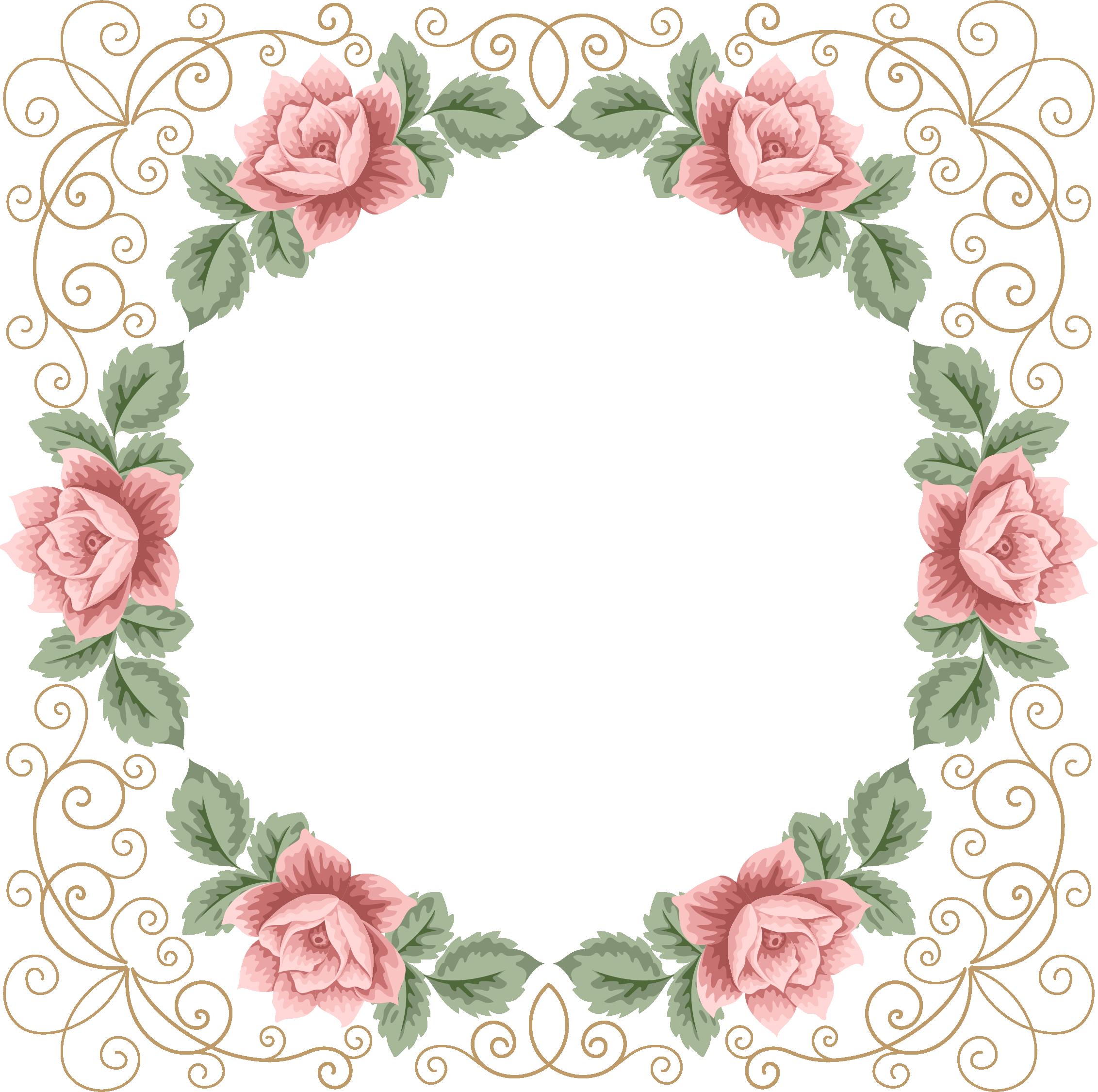 Planner clipart vector. Freedesignfile com floral frame