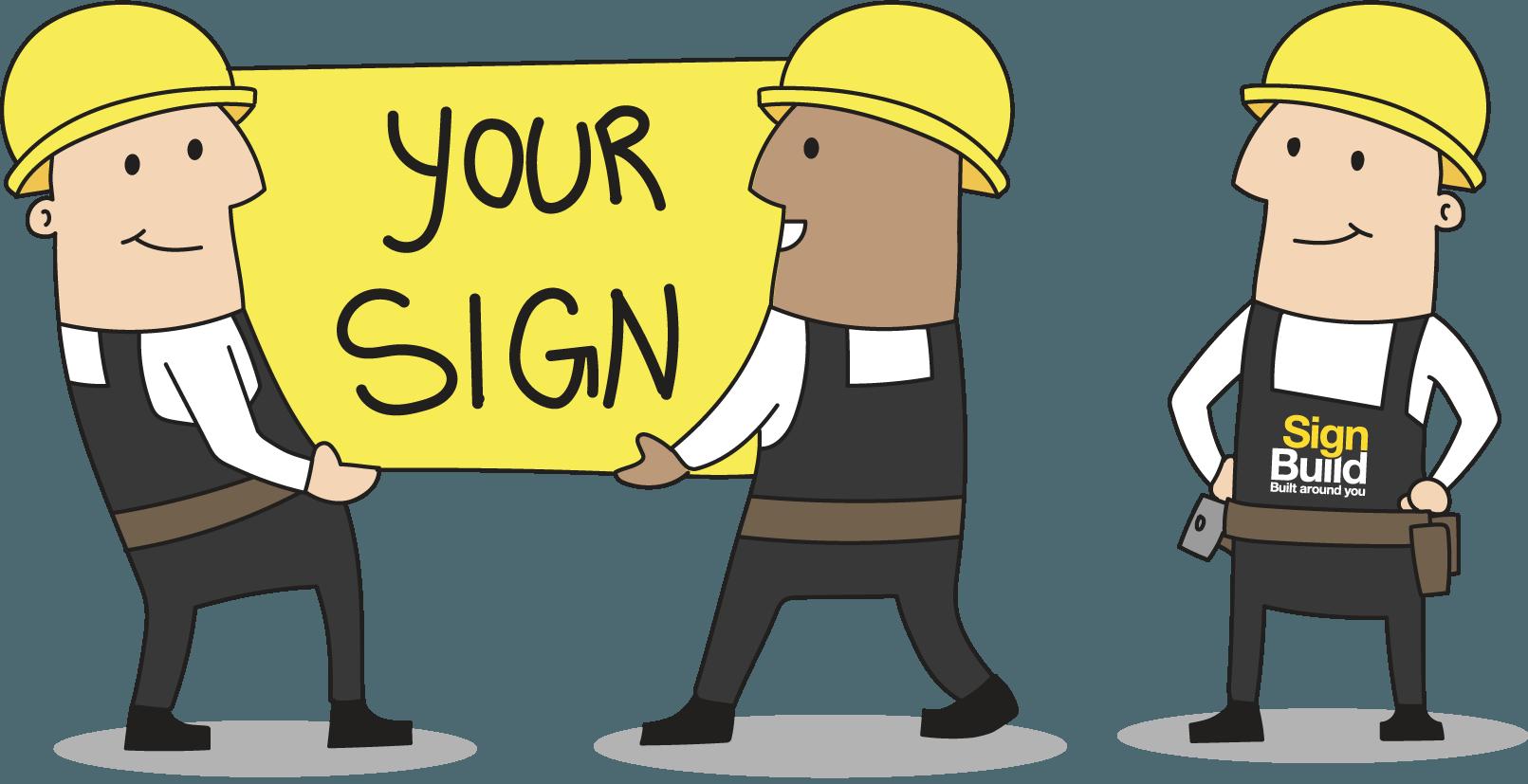 Sign installation build housing. Environment clipart built