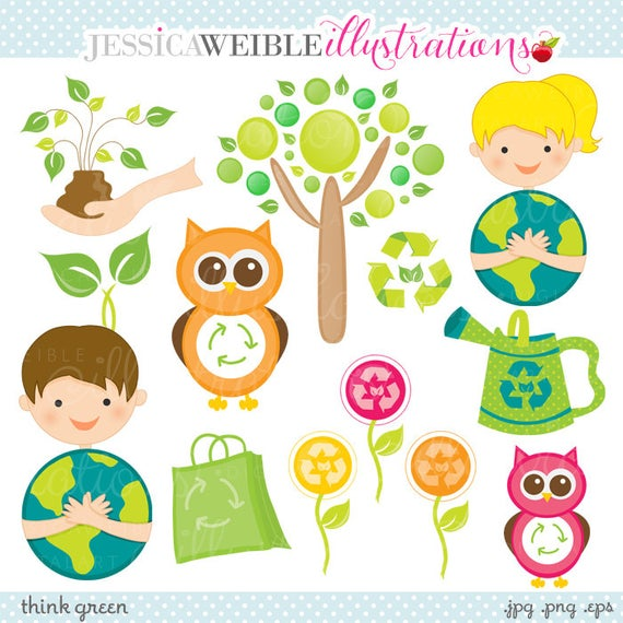 Environment clipart cute. Think green digital commercial