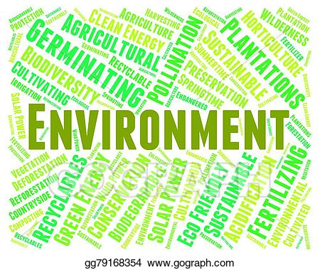 Stock illustration shows earth. Environment clipart environment word