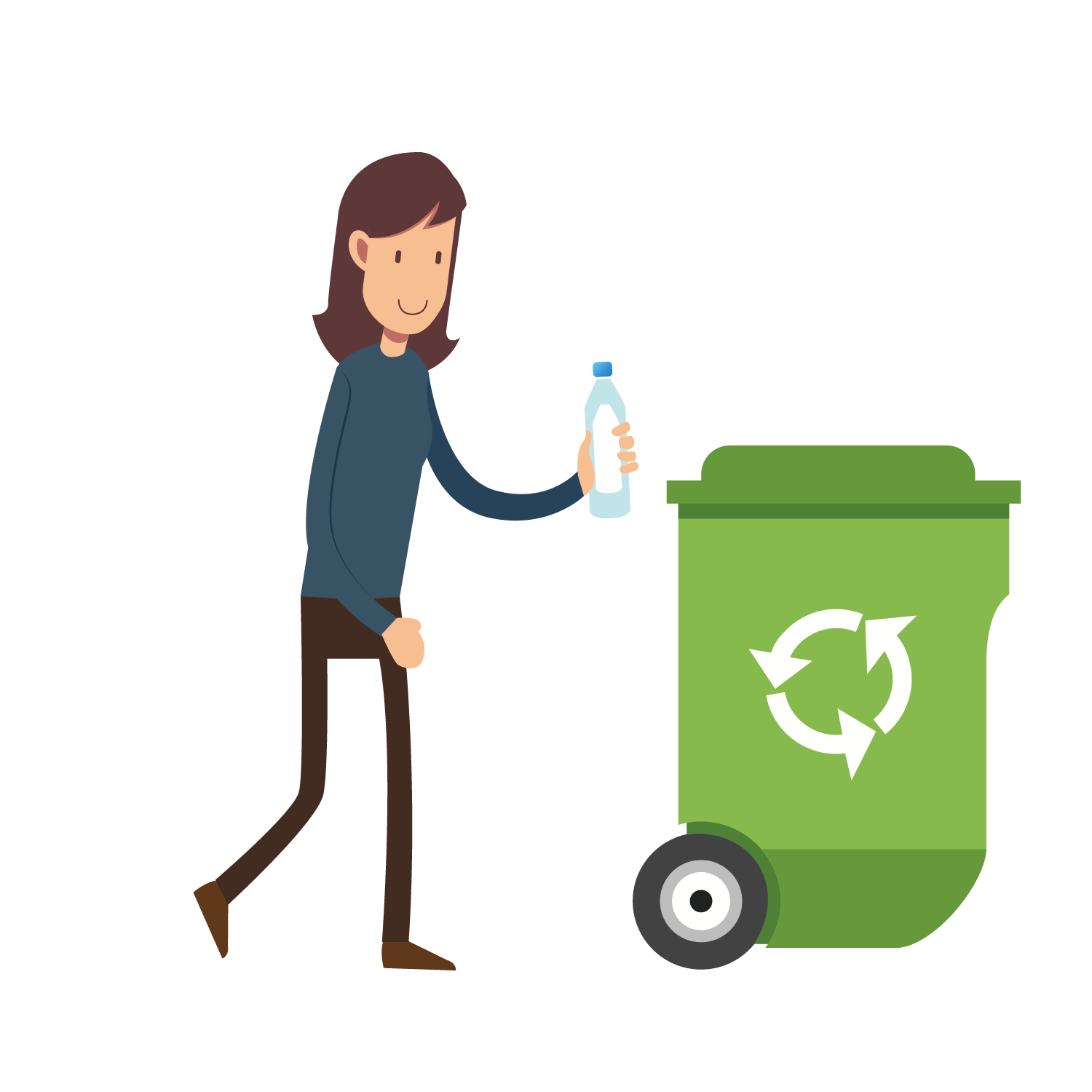 Container recycling throwing rubbish. Human clipart human waste