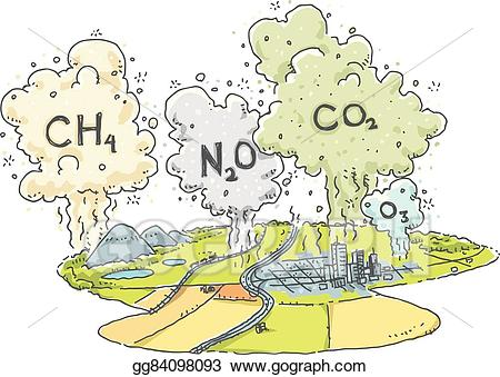 Vector art emissions drawing. Gas clipart greenhouse effect