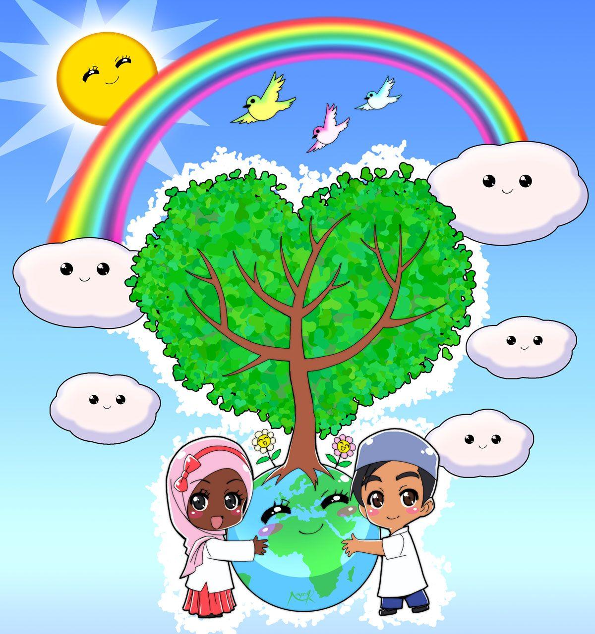 Earth cartoon cute problems. Environment clipart love environment