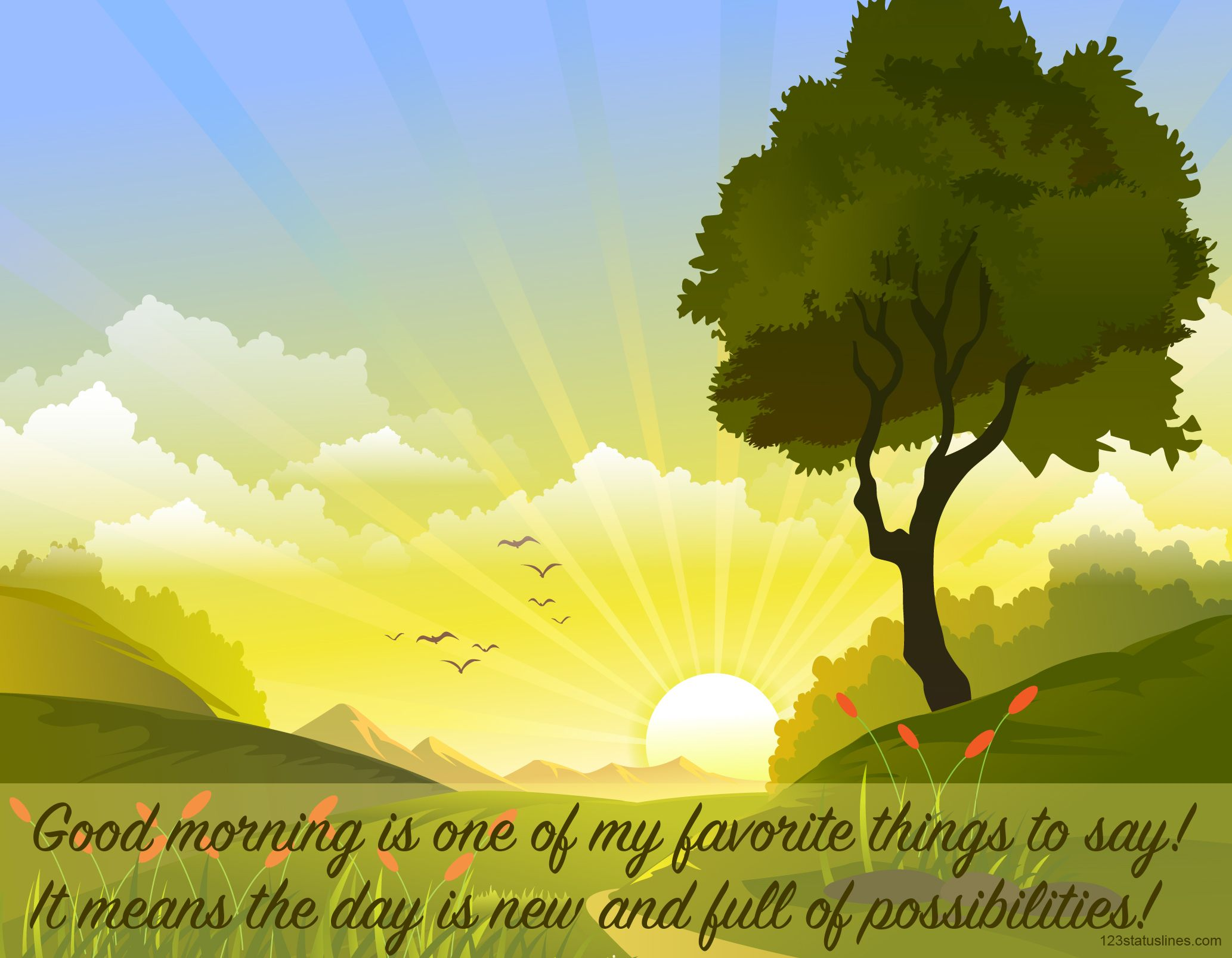 Good quotes status landscape. Environment clipart morning