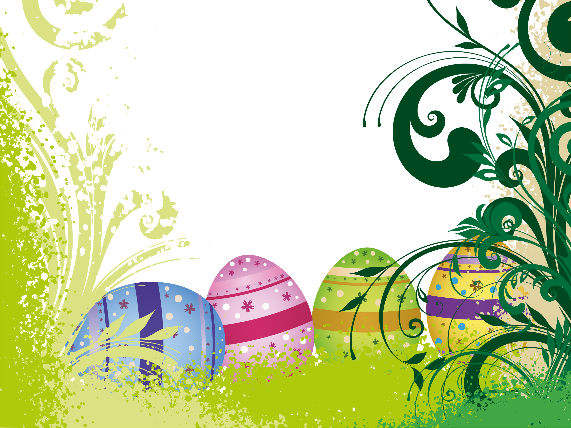 Eggs flourish big image. Vines clipart easter