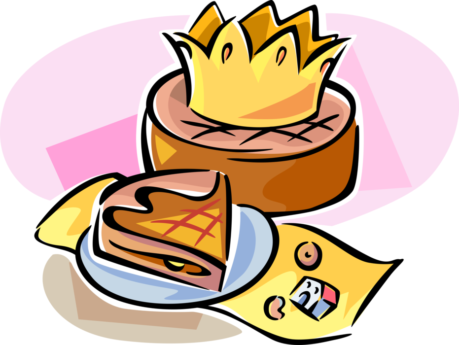 Galette des rois or. Epiphany clipart kings