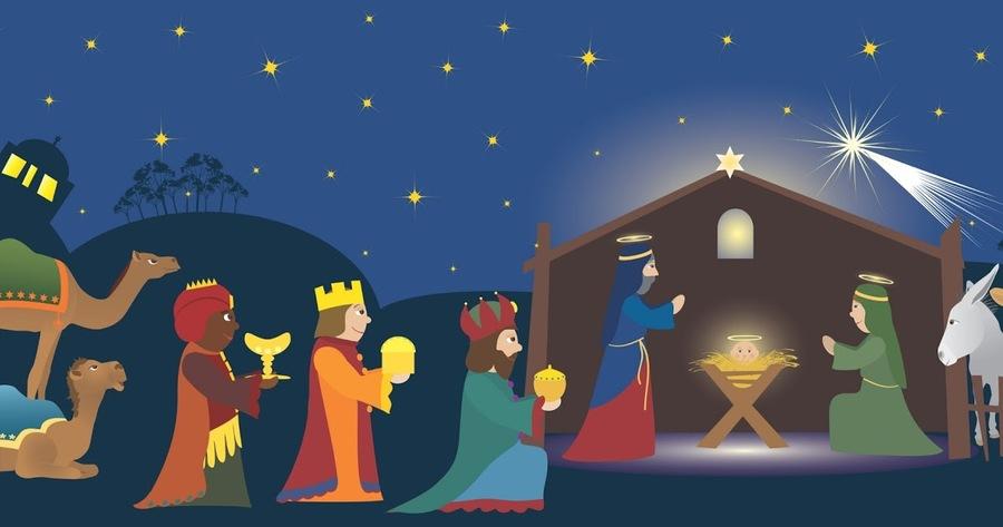 Art cartoon illustration christmas. Epiphany clipart reyes magos