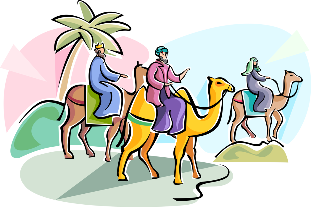 Three of vector image. Epiphany clipart wise men
