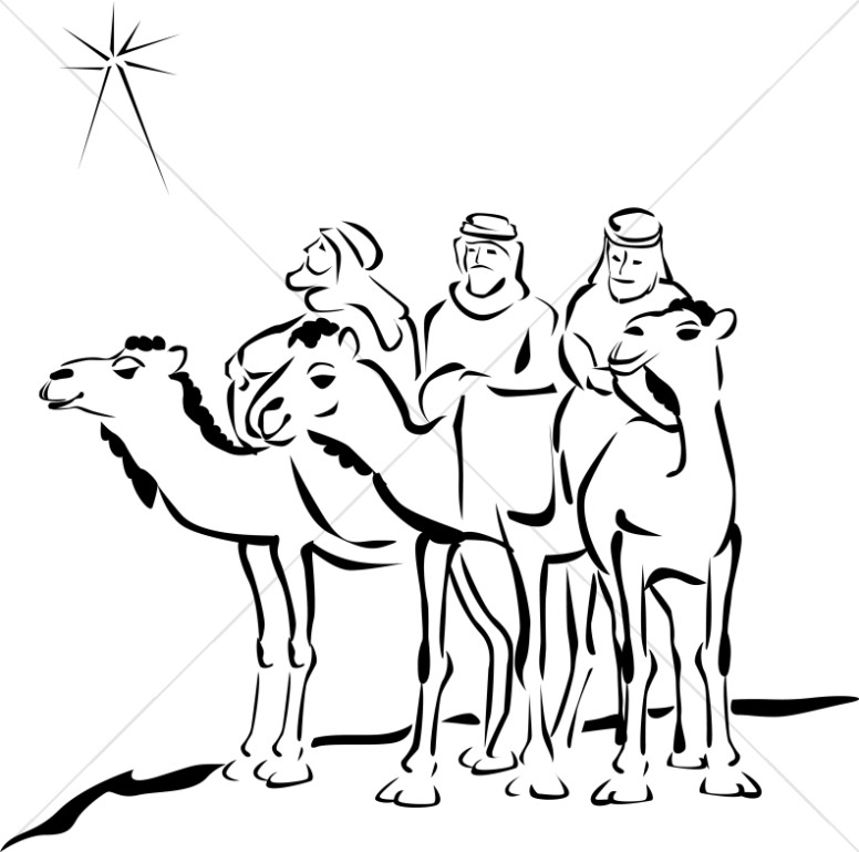Woodcut style three . Epiphany clipart wise men