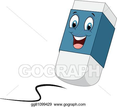 Vector stock cartoon happy. Eraser clipart earaser