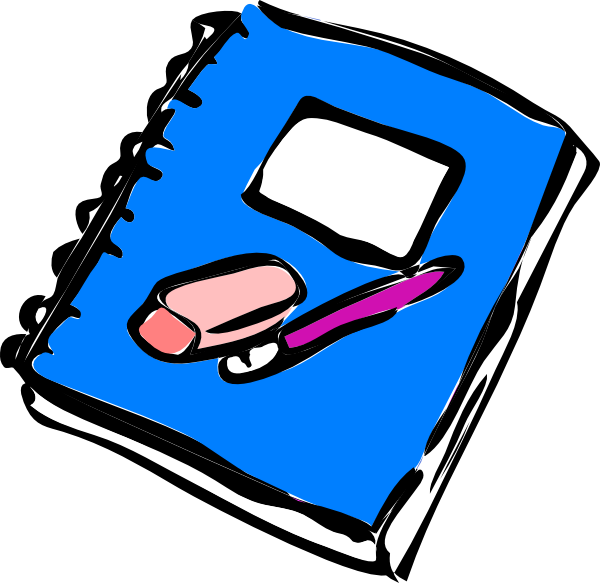 Writer clipart journal. Pencil writing in notebook