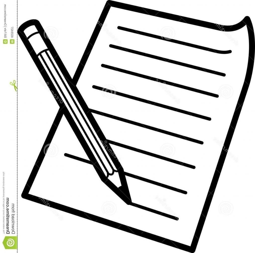 Essay clipart black and white. Pencil paper writings