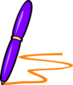 Essay clipart purple pen. Lilac orange writing clip
