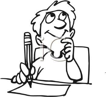 Boy student using imagination. Essay clipart writing story