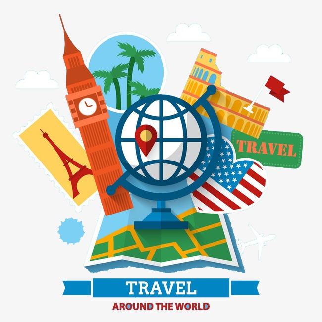 Europe clipart. Travel advertising background attractions