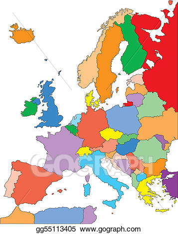 Europe clipart colored. Vector art with editable