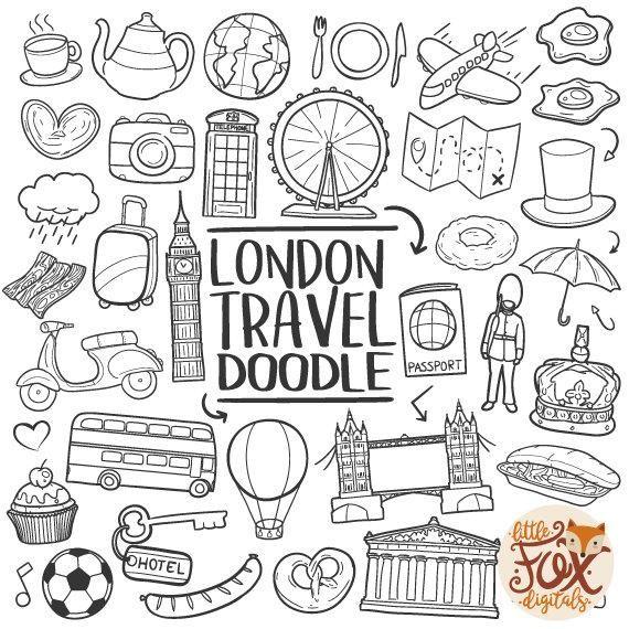 Europe clipart doodle. London england uk travel
