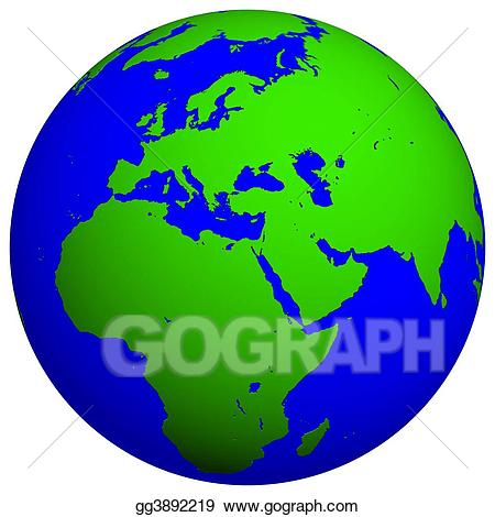 Europe clipart earth planet. Globe stock illustration gg
