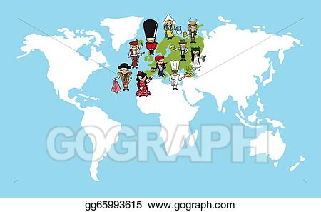 Vector illustration people cartoons. Europe clipart easy