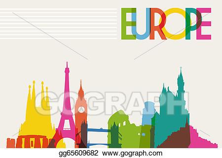 Europe clipart easy. Vector art skyline monument