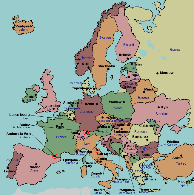Map of geography activities. Europe clipart labeled