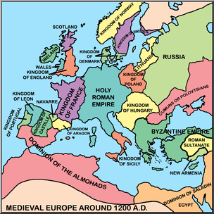Europe clipart labeled. Clip art medieval map