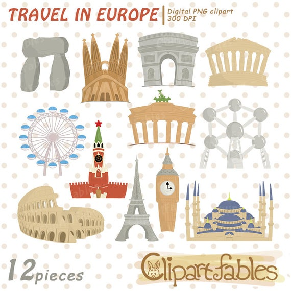 Travel in cute famous. Europe clipart landmarks