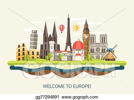 Europe clipart landmarks. Vector illustration of flat