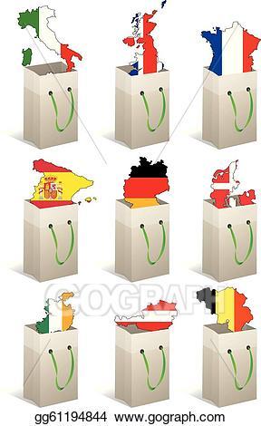 Europe clipart shape. Vector stock bag illustration