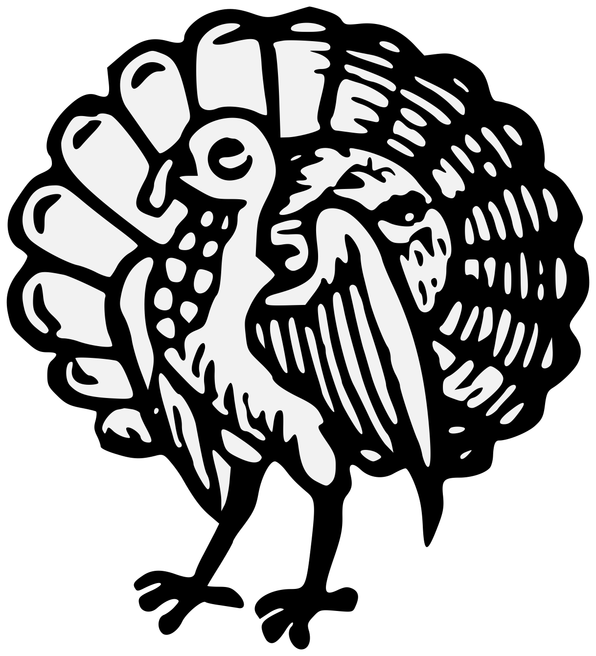 Europe clipart traceable. Turkeycock heraldic art charge