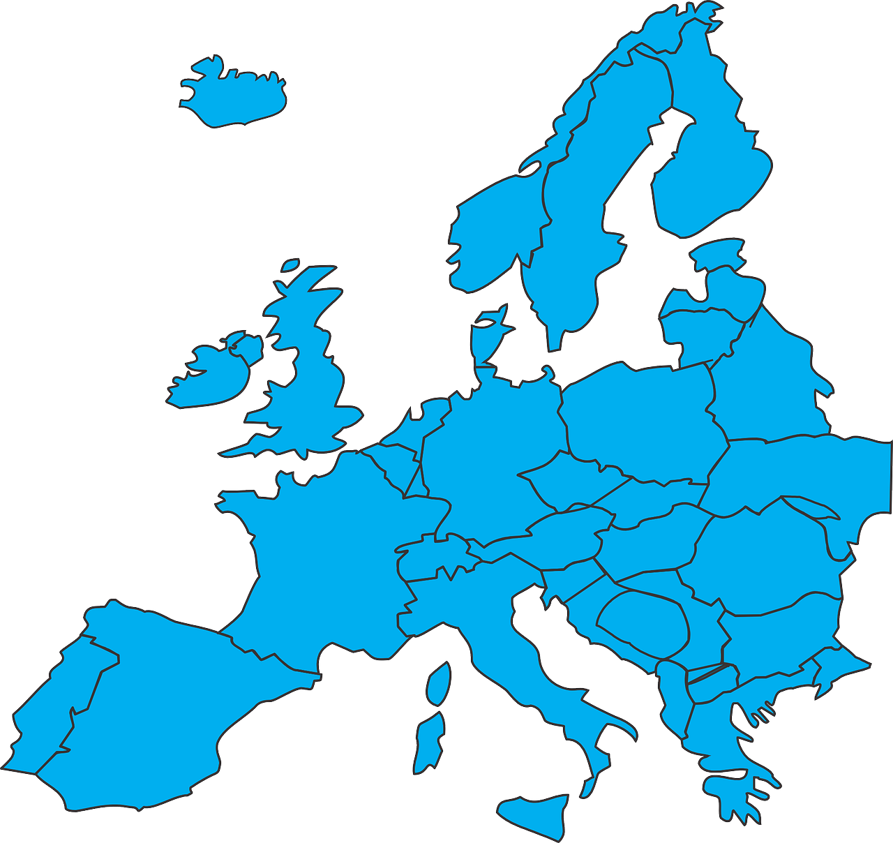 Europe countries blue transparent. Germany clipart map