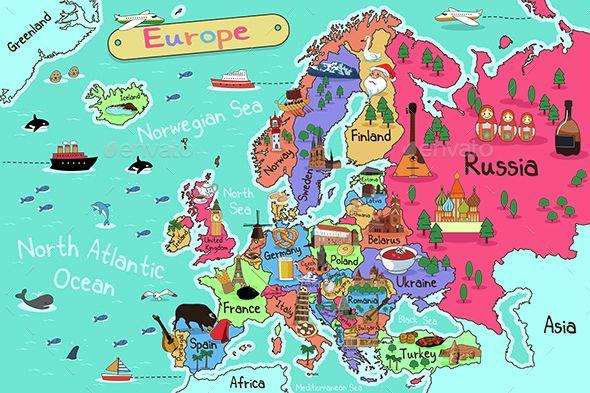 Map travel vectors art. Europe clipart traveled