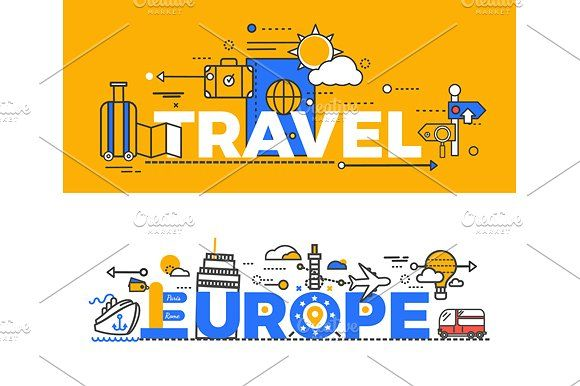 Europe clipart vacation europe. Travel design graphics flat