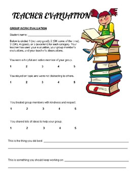 Evaluation clipart evaluation form. Group evaluations and teacher