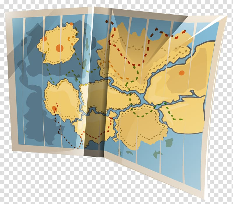 Evaluation clipart mapping. Blue and yellow map