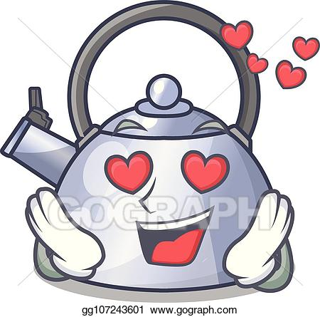 Vector in love whistling. Evaporation clipart hot kettle